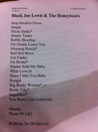 Black Joe Lewis & The Honeybears Setlist