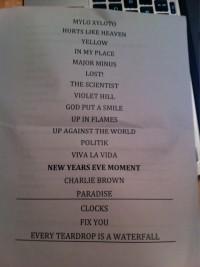 Coldplay Setlist