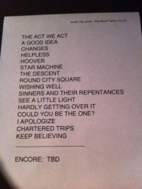 Bob Mould Set List