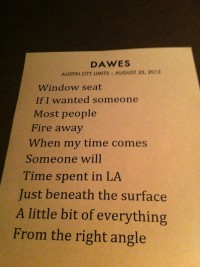 Dawes set list