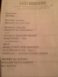 Kacey Musgraves set list