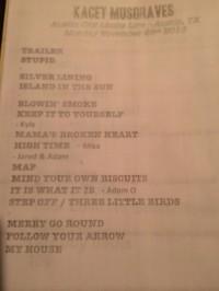 Kacey Musgraves set list