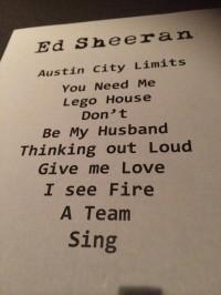 Ed Sheeran Taping Setlist