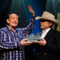 Flaco Jimenez with Dwight Yoakam | 2015 ACL Hall of Fame ©KLRU photo by Scott Newton