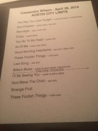Cassandra Wilson Taping Set List