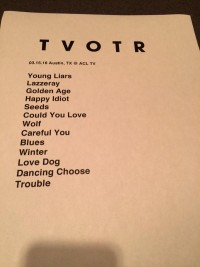 TV on the Radio Taping Set List