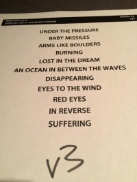 The War on Drugs Taping Set List