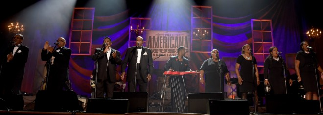 The Fairfield Four, Robert Randolph, and The McCrary Sisters perform. Photo by Erika Goldring/Getty Images for Americana Music