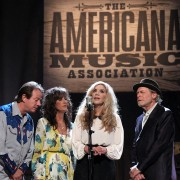 Stuart Duncan, Melonie Cannon, Alison Krauss, and Buddy Miller; Americana Honors & Awards 2016 . Photo by Terry Wyatt/Getty Images for Americana Music.
