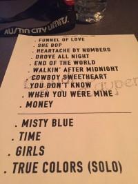 Cyndi Lauper Taping Setlist