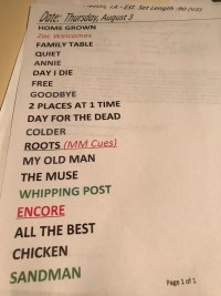 Zac Brown Band Set List