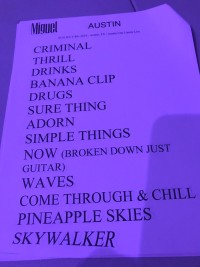 Miguel Taping Set List