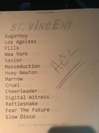 St. Vincent Taping Set List
