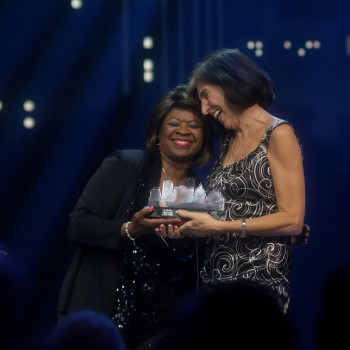 Marcia Ball and Irma Thomas, HOF 2018; photo by Gary Miller