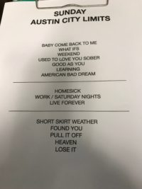 Kane Brown Taping Set List